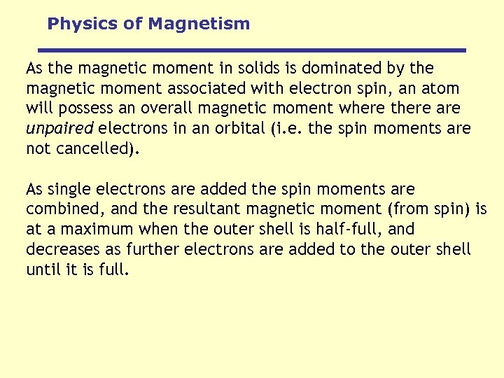 Physics of Magnetism As the magnetic moment in solids is dominated by the magnetic