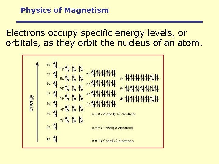 Physics of Magnetism Electrons occupy specific energy levels, or orbitals, as they orbit the