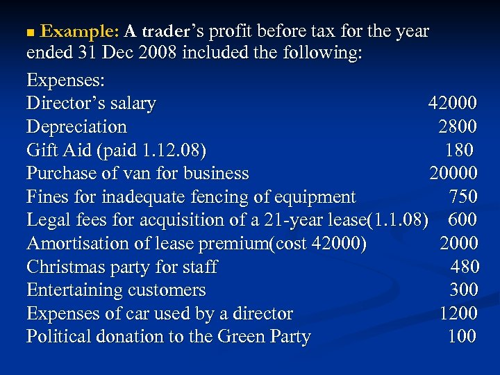 Example: A trader's profit before tax for the year ended 31 Dec 2008 included