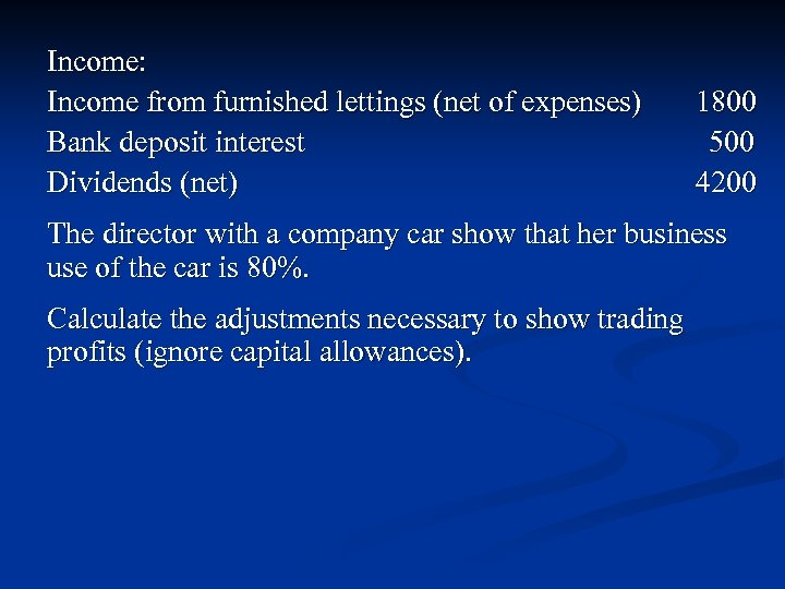 Income: Income from furnished lettings (net of expenses) Bank deposit interest Dividends (net) 1800
