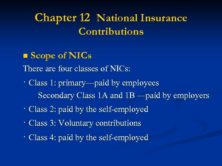 Chapter 12 National Insurance Contributions n Scope of NICs There are four classes of