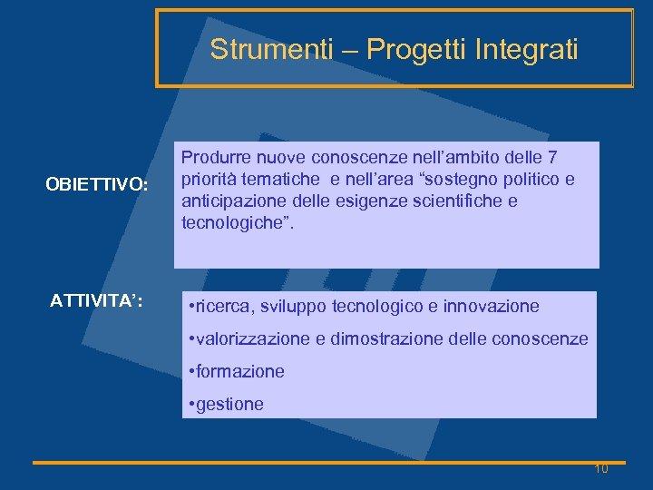 Strumenti – Progetti Integrati OBIETTIVO: ATTIVITA': Produrre nuove conoscenze nell'ambito delle 7 priorità tematiche