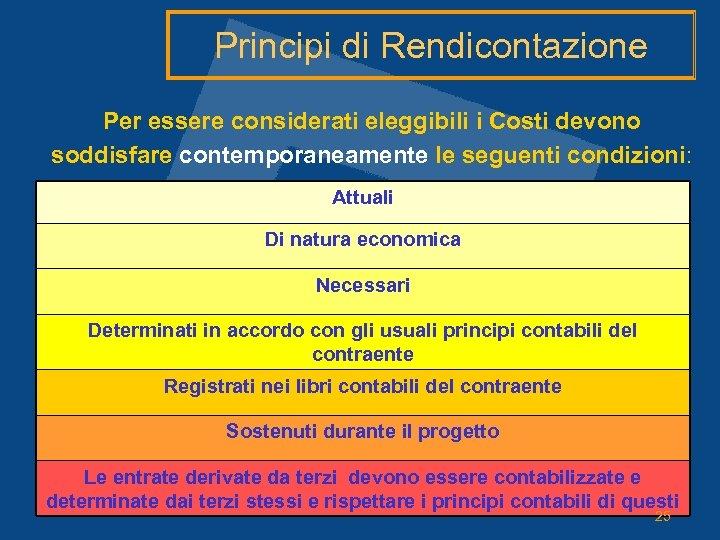 Principi di Rendicontazione Per essere considerati eleggibili i Costi devono soddisfare contemporaneamente le seguenti