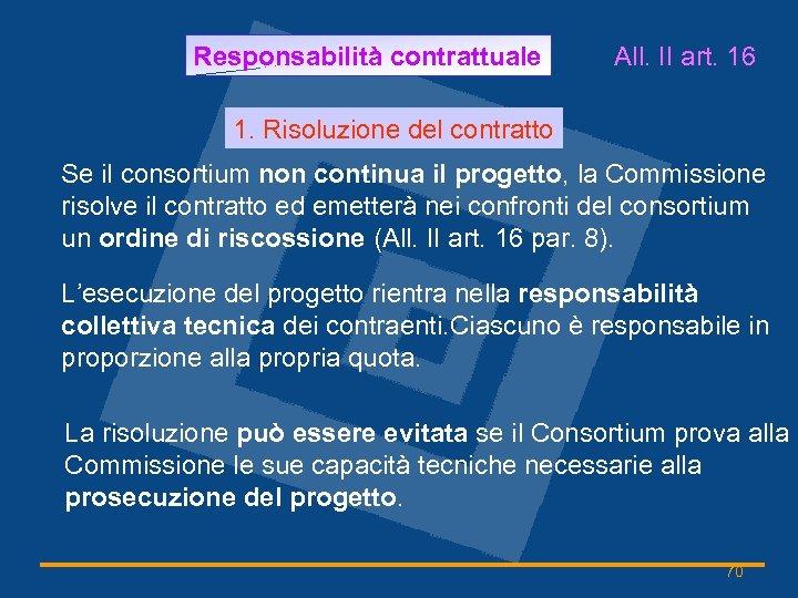 Responsabilità contrattuale All. II art. 16 1. Risoluzione del contratto Se il consortium non