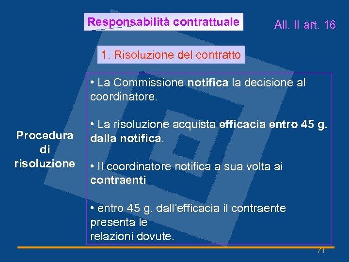Responsabilità contrattuale All. II art. 16 1. Risoluzione del contratto • La Commissione notifica