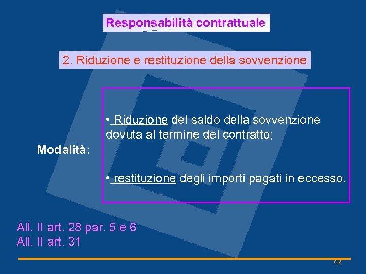 Responsabilità contrattuale 2. Riduzione e restituzione della sovvenzione • Riduzione del saldo della sovvenzione