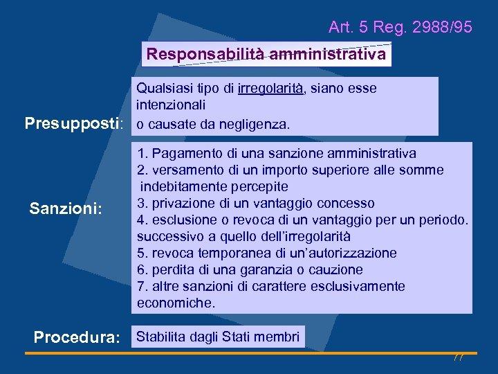 Art. 5 Reg. 2988/95 Responsabilità amministrativa Presupposti: Sanzioni: Qualsiasi tipo di irregolarità, siano esse
