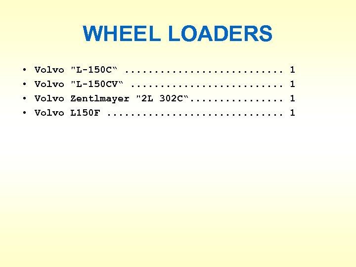WHEEL LOADERS • • Volvo