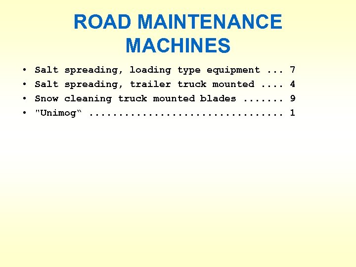 ROAD MAINTENANCE MACHINES • • Salt spreading, loading type equipment. . . Salt spreading,