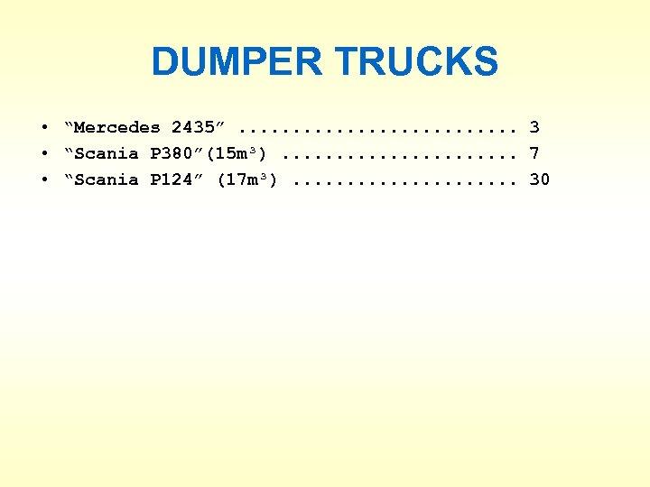"DUMPER TRUCKS • ""Mercedes 2435"". . . 3 • ""Scania P 380""(15 m³). ."