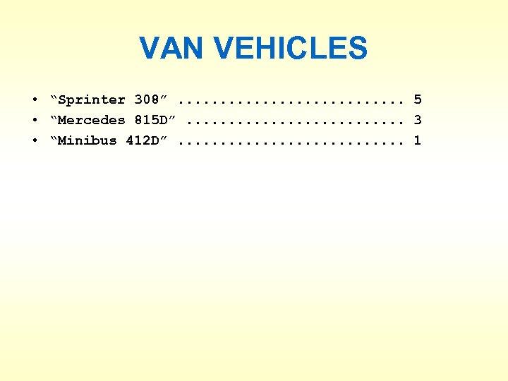 "VAN VEHICLES • ""Sprinter 308"". . . . 5 • ""Mercedes 815 D"". ."