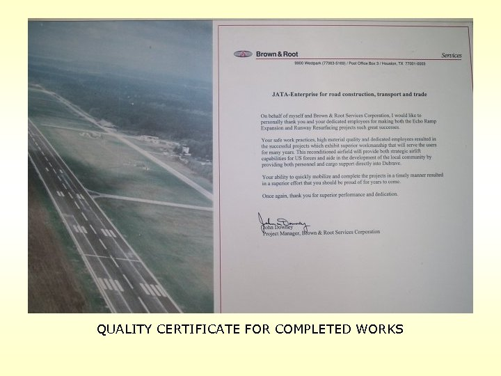 QUALITY CERTIFICATE FOR COMPLETED WORKS