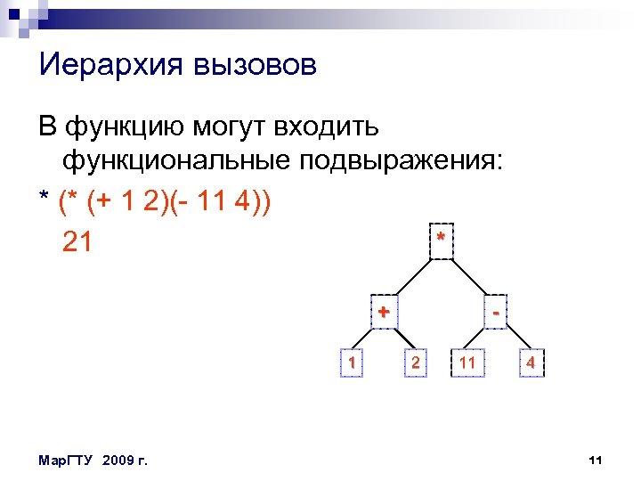 Иерархия вызовов В функцию могут входить функциональные подвыражения: * (* (+ 1 2)(- 11