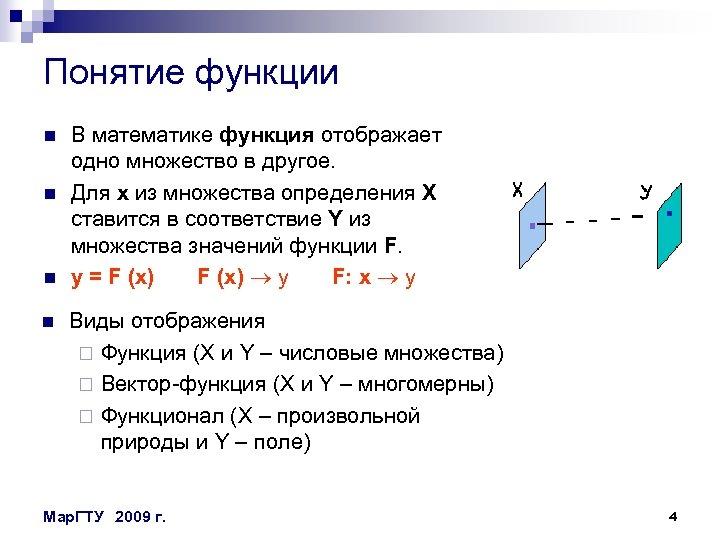 Понятие функции n n В математике функция отображает одно множество в другое. Для х