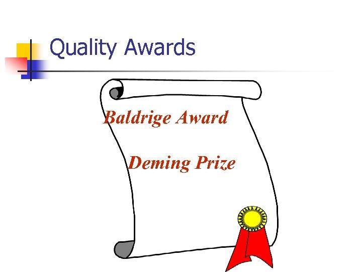 Quality Awards Baldrige Award Deming Prize
