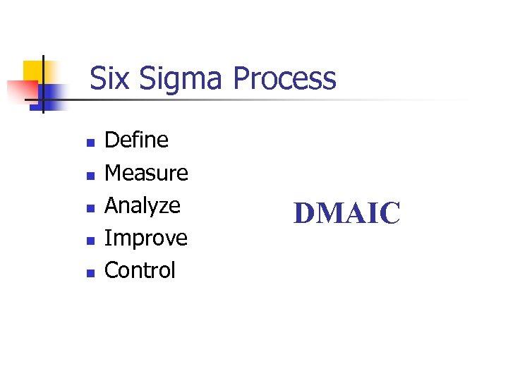 Six Sigma Process n n n Define Measure Analyze Improve Control DMAIC