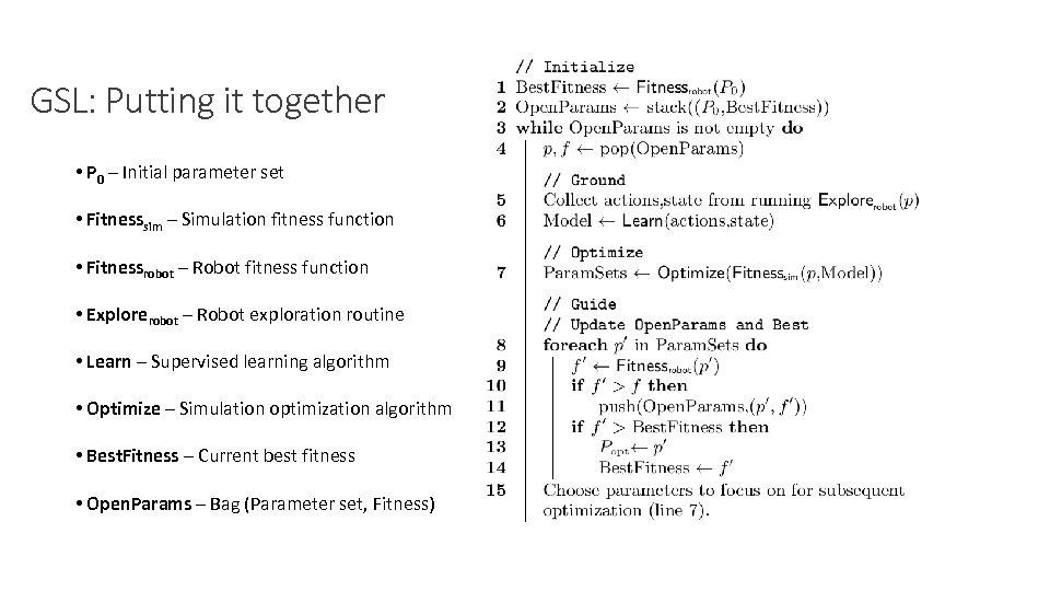 GSL: Putting it together • P 0 – Initial parameter set • Fitnesssim –