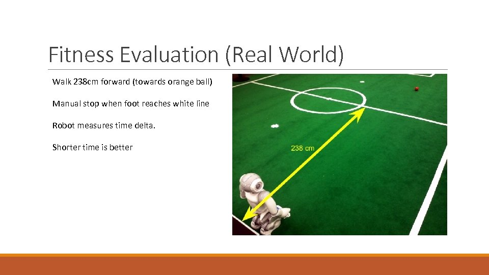Fitness Evaluation (Real World) Walk 238 cm forward (towards orange ball) Manual stop when