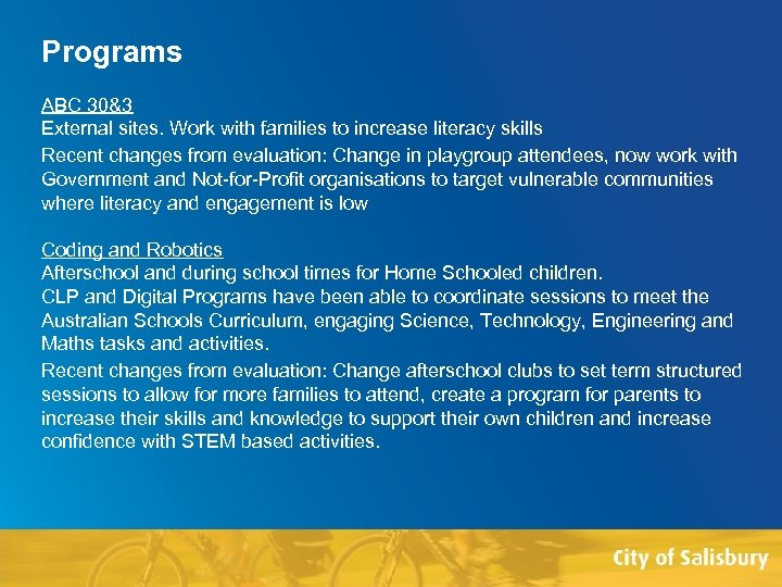 Programs ABC 30&3 External sites. Work with families to increase literacy skills Recent changes