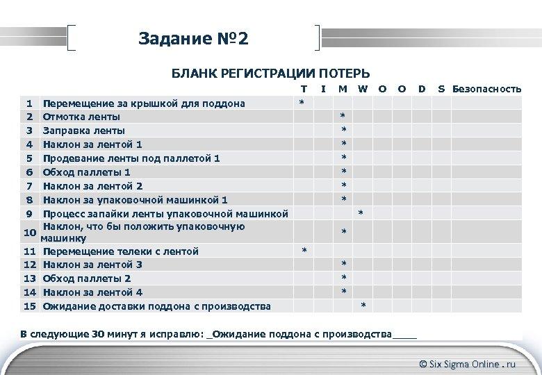 Задание № 2 БЛАНК РЕГИСТРАЦИИ ПОТЕРЬ 1 2 3 4 5 6 7 8