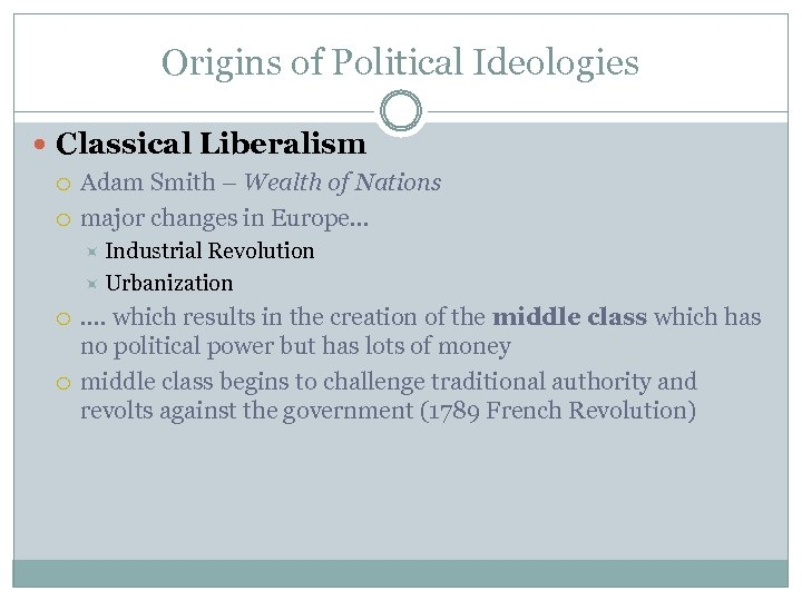 Origins of Political Ideologies Classical Liberalism Adam Smith – Wealth of Nations major changes