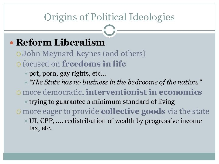 Origins of Political Ideologies Reform Liberalism John Maynard Keynes (and others) focused on freedoms