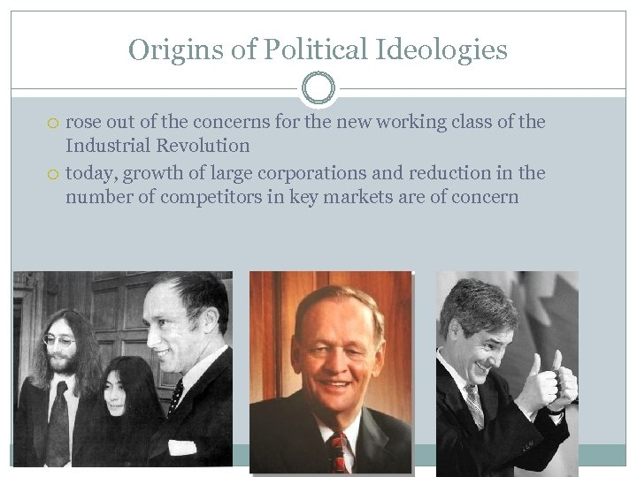 Origins of Political Ideologies rose out of the concerns for the new working class