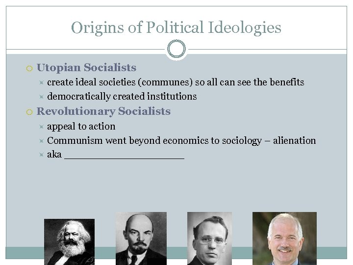 Origins of Political Ideologies Utopian Socialists create ideal societies (communes) so all can see