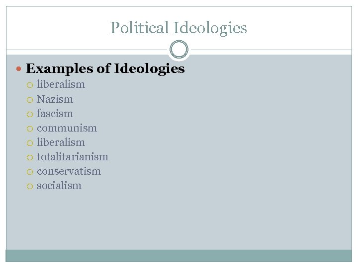 Political Ideologies Examples of Ideologies liberalism Nazism fascism communism liberalism totalitarianism conservatism socialism