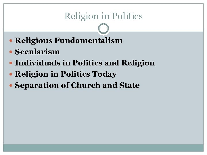 Religion in Politics Religious Fundamentalism Secularism Individuals in Politics and Religion in Politics Today