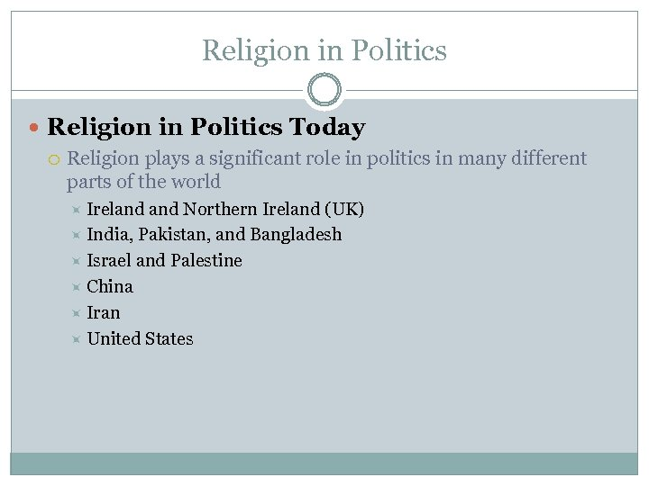 Religion in Politics Today Religion plays a significant role in politics in many different