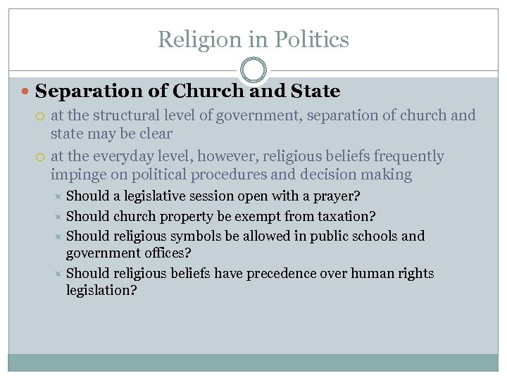 Religion in Politics Separation of Church and State at the structural level of government,