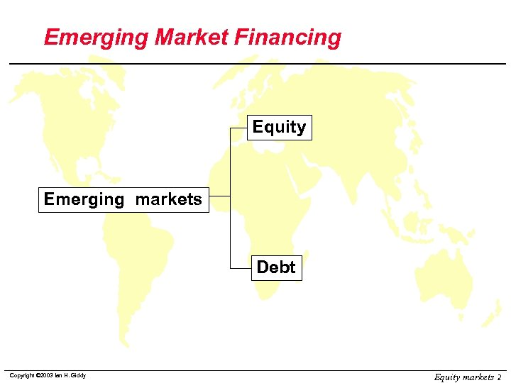 Emerging Market Financing Equity Emerging markets Debt Copyright © 2003 Ian H. Giddy Equity