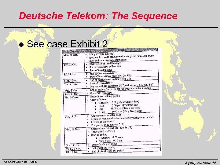 Deutsche Telekom: The Sequence l See case Exhibit 2 Copyright © 2003 Ian H.