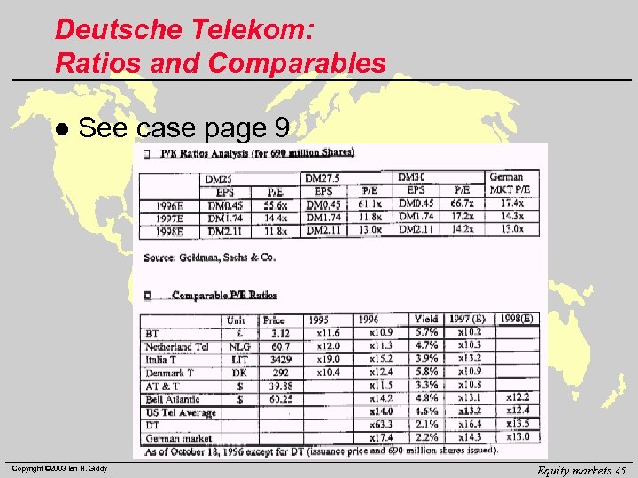 Deutsche Telekom: Ratios and Comparables l See case page 9 Copyright © 2003 Ian