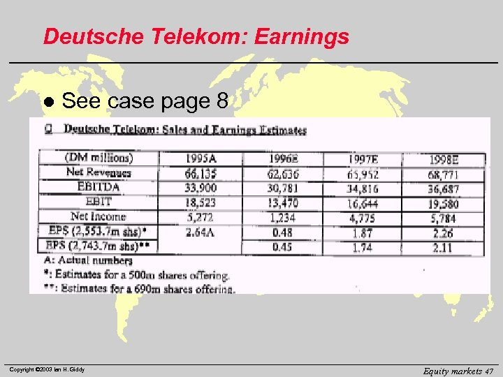 Deutsche Telekom: Earnings l See case page 8 Copyright © 2003 Ian H. Giddy