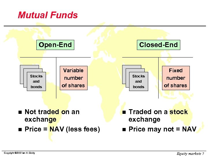 Mutual Funds Open-End Stocks and bonds n n Variable number of shares Not traded