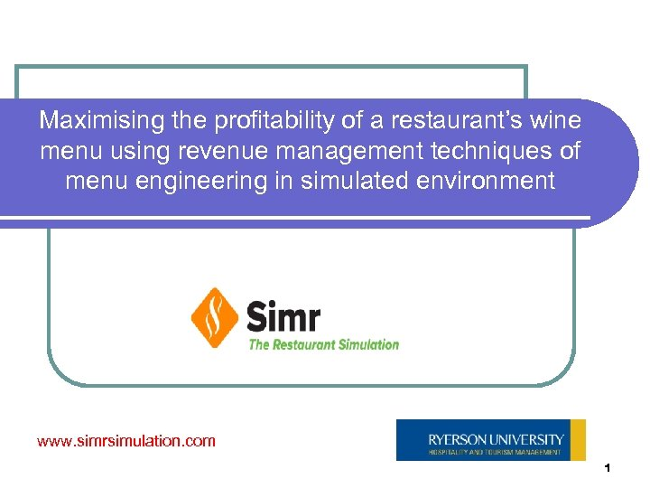 Maximising the profitability of a restaurant's wine menu using revenue management techniques of menu