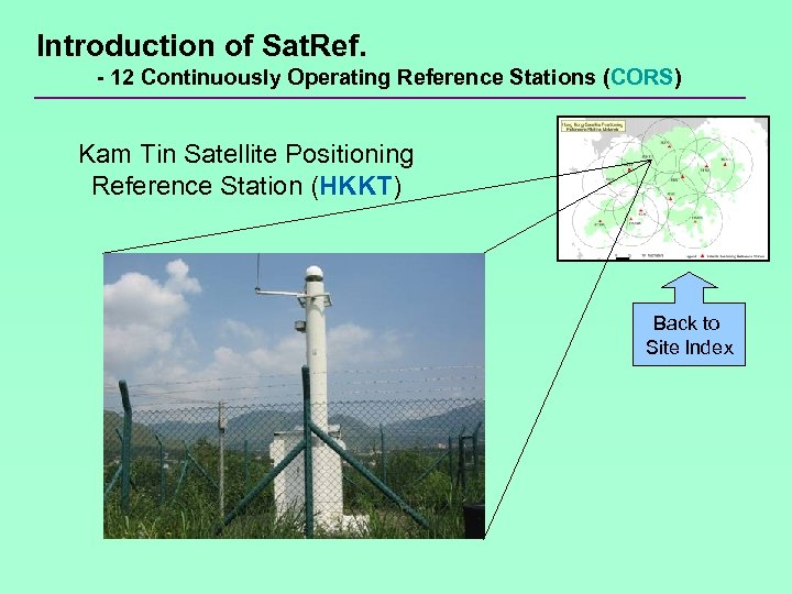 Introduction of Sat. Ref. - 12 Continuously Operating Reference Stations (CORS) Kam Tin Satellite