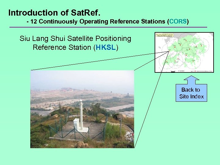 Introduction of Sat. Ref. - 12 Continuously Operating Reference Stations (CORS) Siu Lang Shui