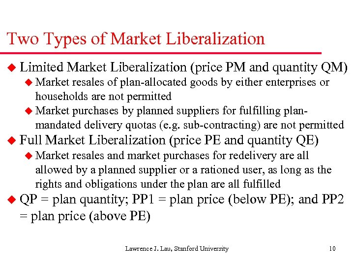 Two Types of Market Liberalization u Limited Market Liberalization (price PM and quantity QM)