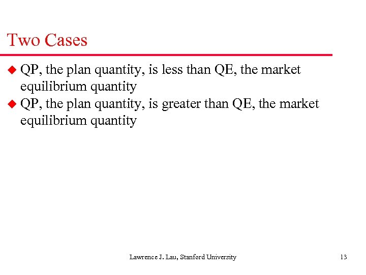Two Cases u QP, the plan quantity, is less than QE, the market equilibrium
