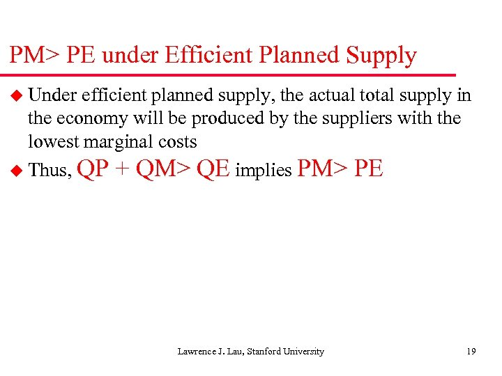 PM> PE under Efficient Planned Supply u Under efficient planned supply, the actual total