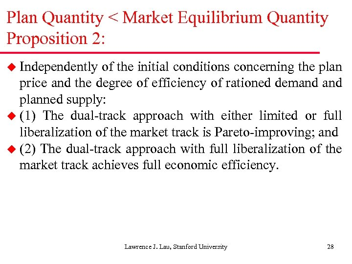Plan Quantity < Market Equilibrium Quantity Proposition 2: u Independently of the initial conditions
