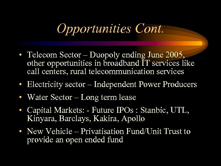 Opportunities Cont. • Telecom Sector – Duopoly ending June 2005, other opportunities in broadband