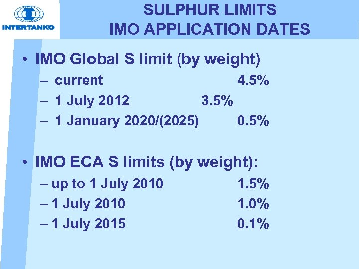 SULPHUR LIMITS IMO APPLICATION DATES • IMO Global S limit (by weight) – current