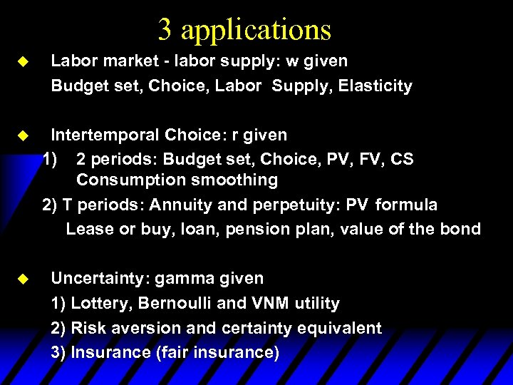 3 applications u u u Labor market - labor supply: w given Budget set,