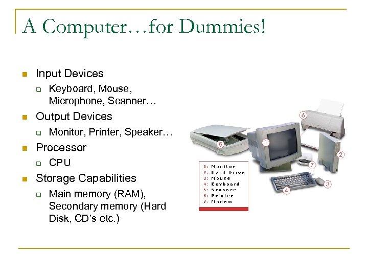 A Computer…for Dummies! n Input Devices q n Output Devices q n Monitor, Printer,
