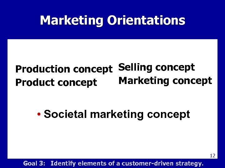 Marketing Orientations Marketing Management Production concept Selling concept Marketing concept Product concept • Societal