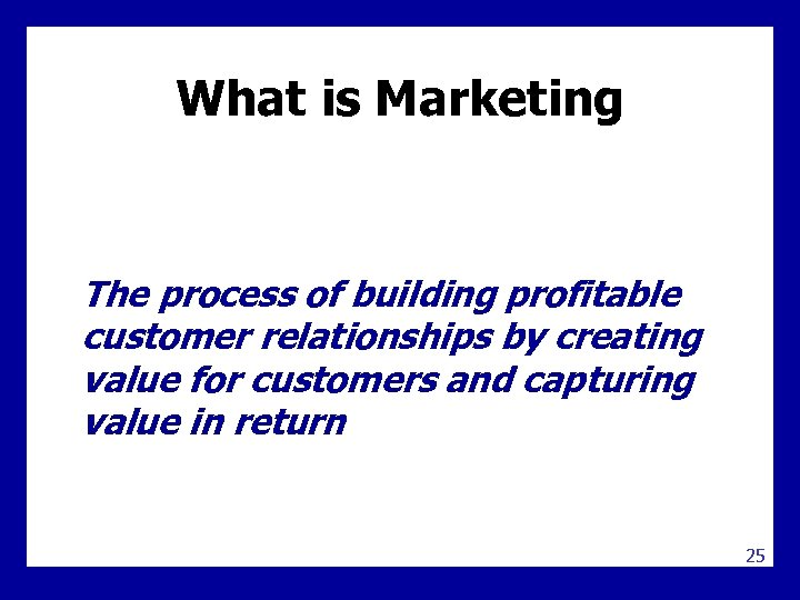 What is Marketing The process of building profitable customer relationships by creating value for